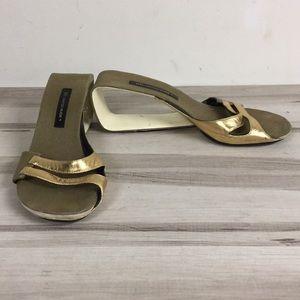 United Nude Gold Leather Open Heel Mule Sandal 40